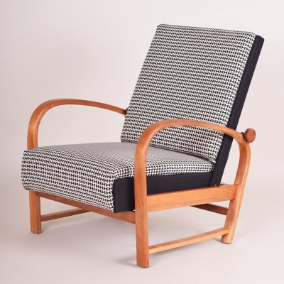 Unique German Thonet Positioning Armchair in Walnut, 1930s