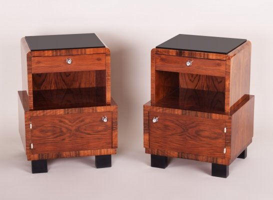 Pair of Czech Artdeco Bed-Side Tables, 1930s