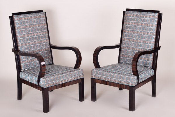 Pair of High Macassar Art Deco Armchairs, France 1920s