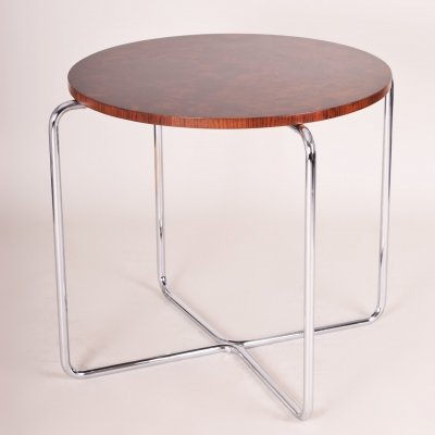 Chrome Czech Bauhaus Art Deco Walnut Table, Period 1930-1939