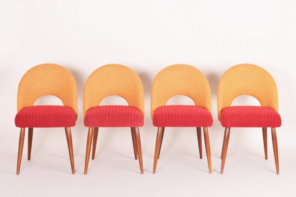 Set of 4 Czech Mid-century Chairs with Original Fabric, 1950s