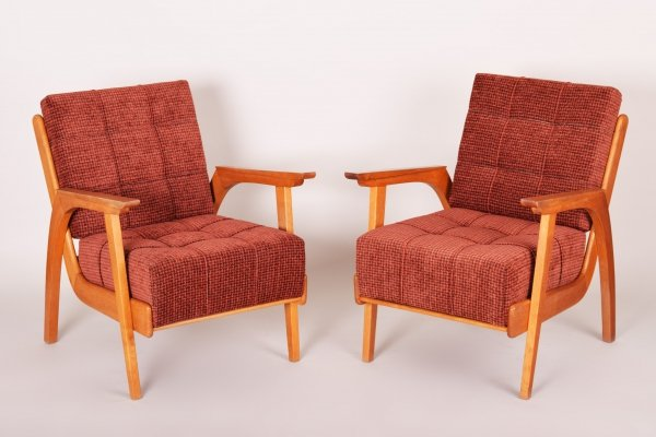 Pair of Red Czech Mid-Century Oak Armchairs, 1950s