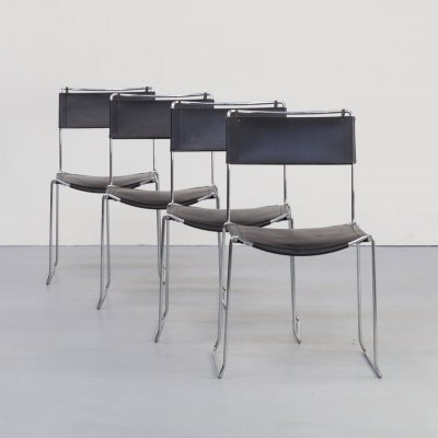 Set of 4 Leather dining chairs by Giandomenico Belotti for Alias, 1980s