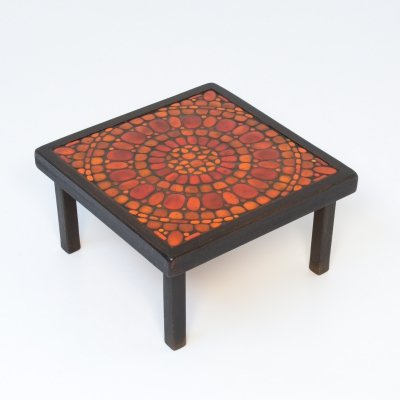 Red Ceramic Side Table