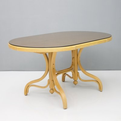 Dining Table in Wood, Cane & Glass, 1970s