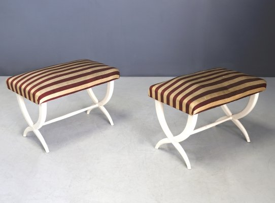 Pair of Hardwood Benches by Gio Ponti & Tomaso Buzzi, 1930s-1940s