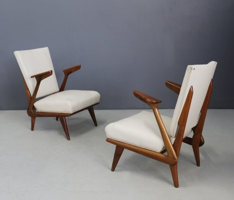 Pair of Midcentury Solid Wood Armchairs by Giuseppe Scapinelli, 1950s