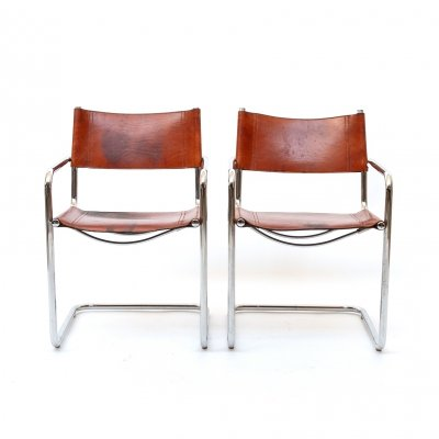 MG5 Cognac Leather Chair by Marcel Breuer for Gavina