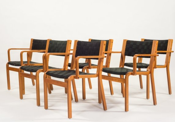 Set of 6 canvas armchairs by Rud Thygesen en Johnny Sørensen for Magnus Olesen