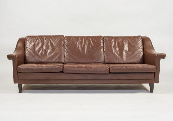 Danish Architectural brown leather sofa, 1960's