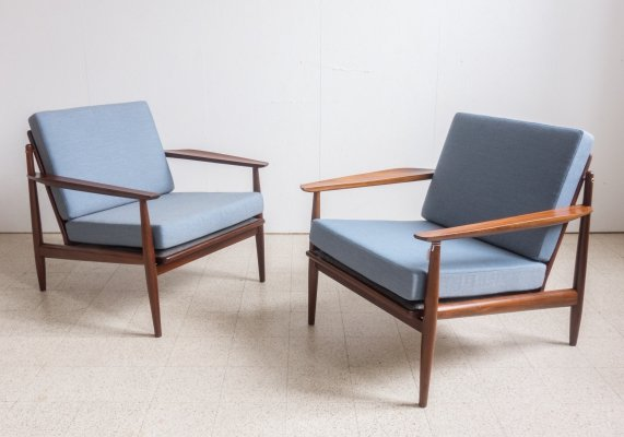 Pair of teak lounge chairs by Arne Vodder for Glostrup Møbelfabrik, 1960s