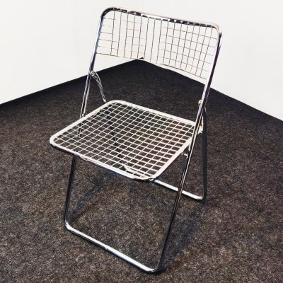 Chrome 'Ted Net' folding chair by Niels Gammelgaard for IKEA, 1978