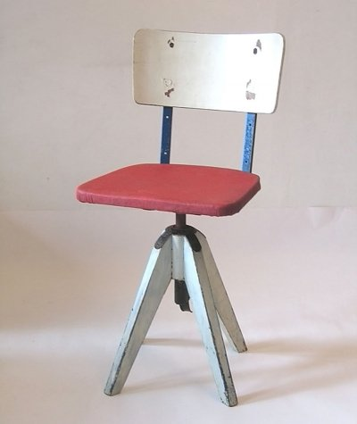 Rare vintage postwar wood & metal chair by Stoll Giroflex