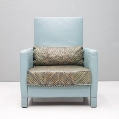 Rare Light Blue Leather Lounge Chair 'Negresco' by Wolfgang Setz for Knoll, 1989