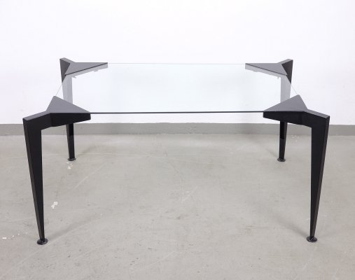 Steel & Glass Dining Table with attachable legs, 1980s