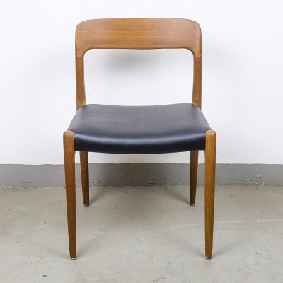Teak & Leather Model 57 Chair by Niels Otto Møller, 1960s