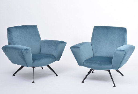 Pair of Italian Lounge chairs by Lenzi, 1950s