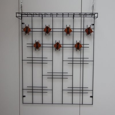 Hat & coat rack in black metal & teak, Netherlands 1960's