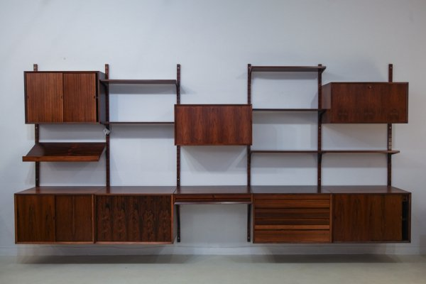 Mid Century Rosewood Poul Cadovius Royal System Wall Unit