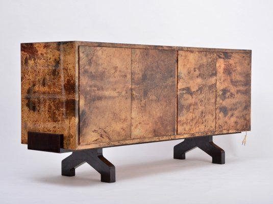 Sideboard in lacquered goat skin by Aldo Tura, Italy 1970s