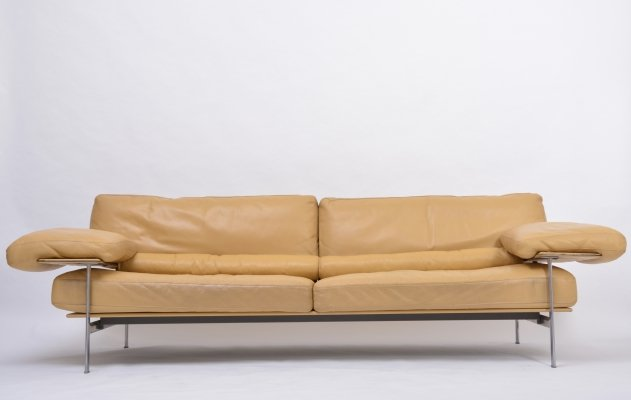 Rare Diesis sofa in ochre leather by Citterio & Nava for B&B Italia, 1979