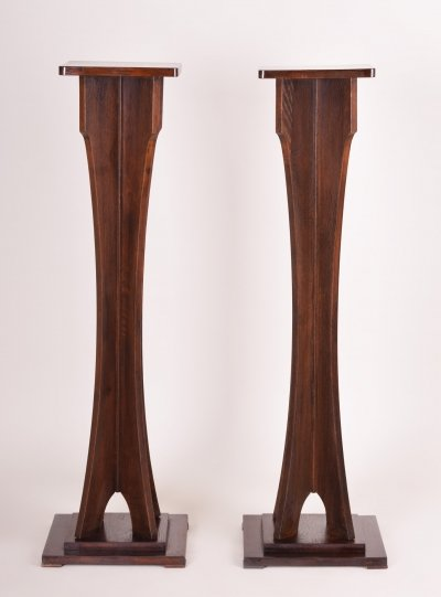 Pair of Art Deco Oak Pedestals from Vienna, Austria 1920s