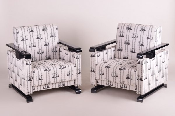 Pair of High Gloss Art Deco Armchairs, 1920s