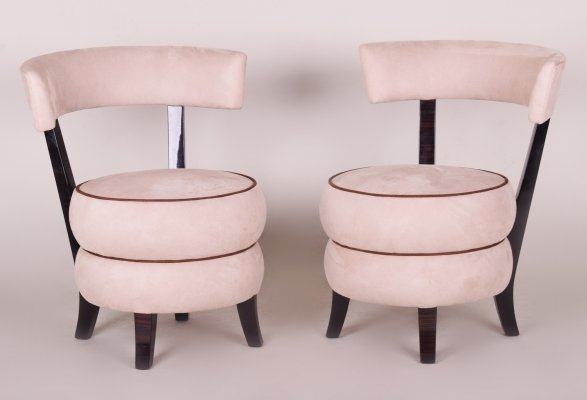Pair of Beige French Macassar Art Deco Armchairs, 1920s