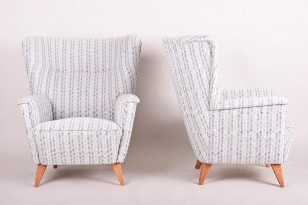 Pair of Czech Oak Blue Mid-Century Wing Armchairs, 1950s