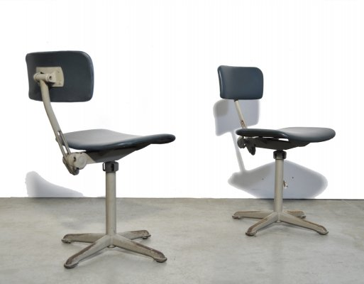 Industrial vintage office chairs in petrol blue skai, 1960s