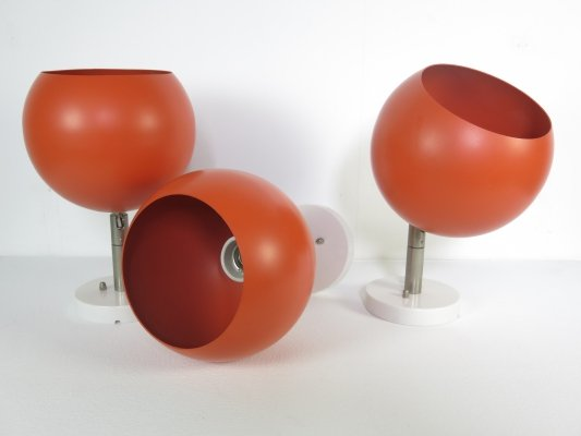 Set of 3 ceiling/wall lamps by Raak Amsterdam, 1970s