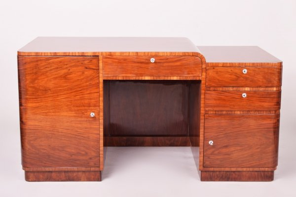 Unusual Brown Czech Funkcionalism Walnut Writing Desk, 1920s