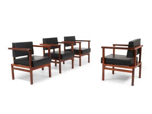 Wim Den Boon Executive Chairs in Black Leather & Rosewood, 1950s