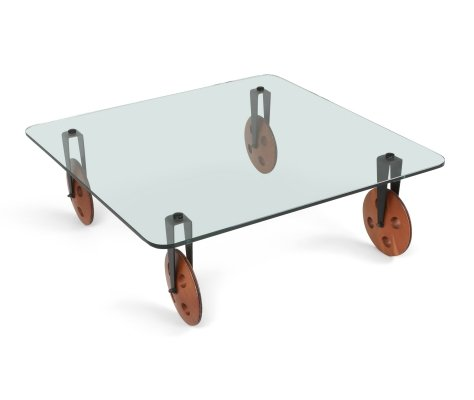 Mid-Century Modern Coffee Table With Wheels, 1970s