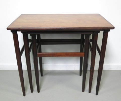 Set of 3 rosewood nesting tables by Arne Hovmand Olsen, 1960s