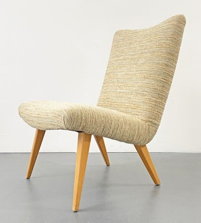 Easy Chair with wool cover & wooden feet, 1960s