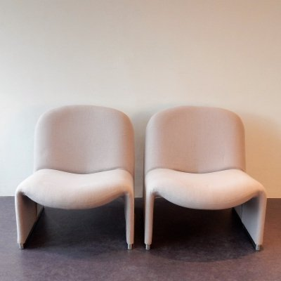 Set of 2 grey Alky chairs by Giancarlo Piretti for Castelli, Italy 1970's