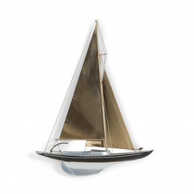 Brass Racing Sail Boat Wall Mount Sculpture by Curtis Jere, 1995