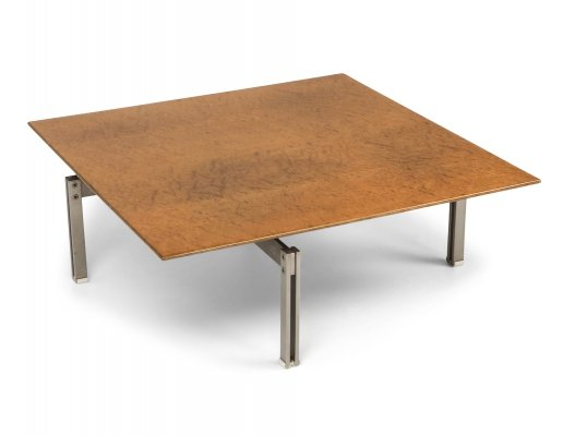 Square Burl Wood Coffee Table With Steel Base, 1970s