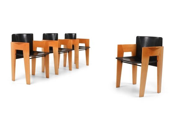 Post-modern Sculptural Leather & Wood Chairs by Arco, 1980s