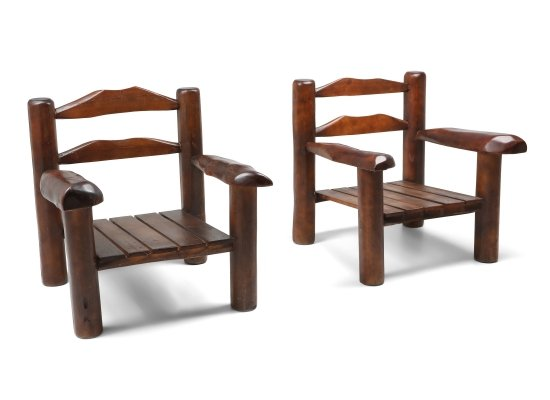 Rustic Wooden Wabi Sabi Lounge Chairs, 1950s