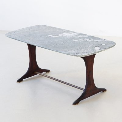 1950s Italian Low Coffee Table with Marble Top