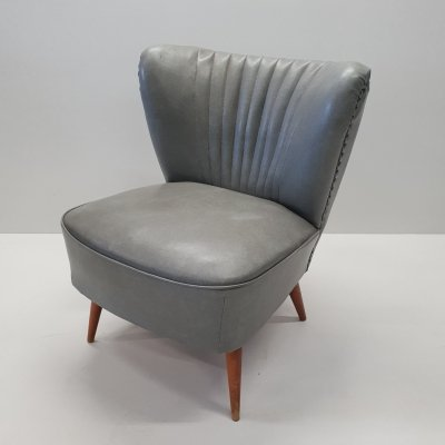Mid-century grey cocktail chair with wooden legs