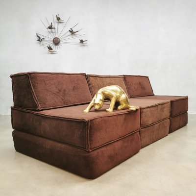 Vintage chocolate brown modular sofa by Team Form AG for COR, 1970s