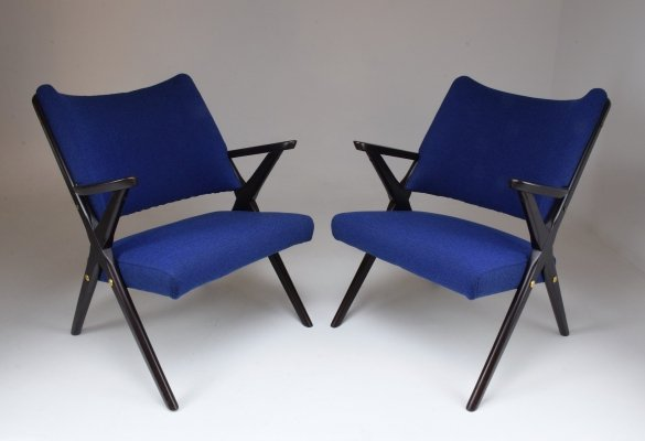 Pair of Mid-Century Italian Armchairs by Dal Vera, 1950's