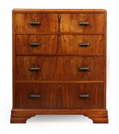 Art Deco Walnut Chest of Drawers, 1930s