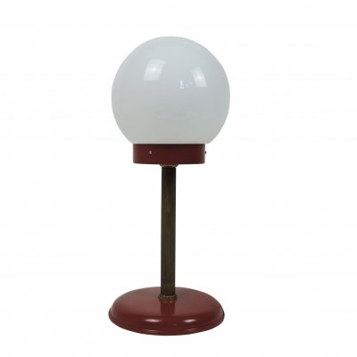 White Globe Table Lamp in Red & Gold, 1970s