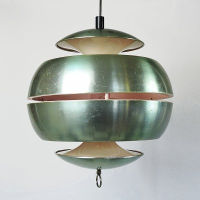 Sliced Apple Pendant Light in Metallic Green, 1970s