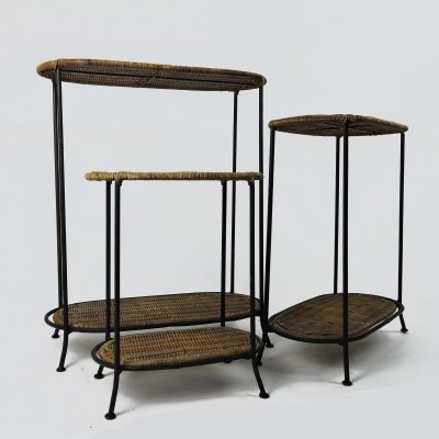 Set of 3 Wicker & Metal Nesting Tables, 1980s