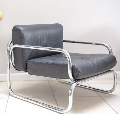 OMK T2 leather armchair designed by Rodney Kinsman, c1970